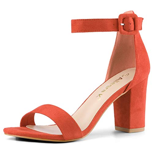 Allegra K Women's Chunky High Heel Ankle Strap Sandals (Size US 11) Orange]()
