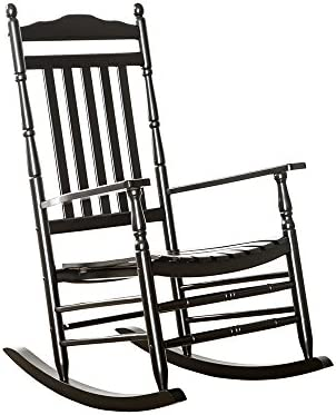 B Z KD-22B Black Wood Rocking Chairs Adult Patio Carved Vintage Outdoor Indoor