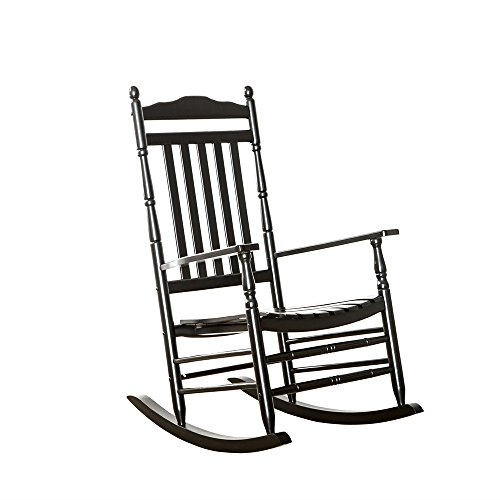 - B&Z Patio Rocking Chair Rocker Hardwood Wooden Glider Adult Carved Legs Wide Seat Antique Vintage Outdoor Indoor KD-22B Black