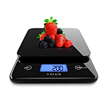 Villain Digital Kitchen Food Scale - Premium Tempered Glass & Highly Accurate Measurements upto 5 Kg with 1g Graduations - Tare Function - Bright & Large Backlit LCD