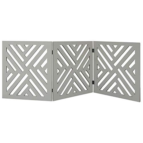 Etna 3-Panel Lattice Design Wooden Pet Gate - Freestanding Tri Fold Dog Fence for Doorways, Stairs - Indoor/Outdoor Decorative Pet Barrier