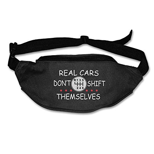 Ada Kitto Real Cars Don't Shift Themselves Mens&Womens Lightweight Travel Waist Bag For Running And Cycling Black One Size by Ada Kitto