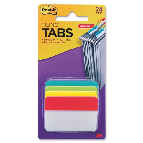 Post-it Tabs, 2 in. Angled Solid, Assorted Primary Colors, 6 Tabs/Color, 4 Colors, 24 Tabs/Pack, (686A-ALYR)