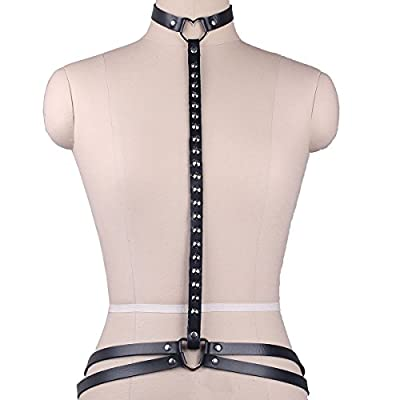 Womens Leather Bondage Harness Studded Body Chain Sexy Belt