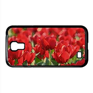 lintao diy Field Of Red Tulips Watercolor style Cover Samsung Galaxy S4 I9500 Case (Flowers Watercolor style Cover Samsung Galaxy S4 I9500 Case)