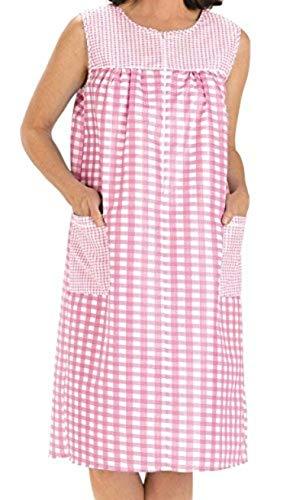 EZI Women's Sleeveless Zipper Gingham Shift House Dress Duster ,MediumF,Pink