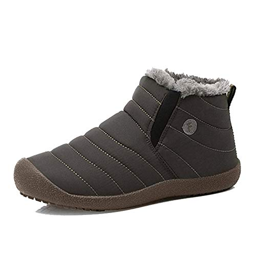 EXEBLUE Enly Winter Snow Boots Slip-on Water Resistant Booties for Men Women, Anti-Slip Lightweight Ankle Boots with Full Fur Foliage Green