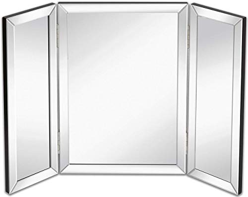Hamilton Hills Trifold Vanity Mirror | Solid Hinged Sided Tri-fold Beveled Mirrored -