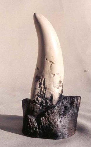 s Rex - Dinosaur Tooth Fossil Replica On Base - No Stand Needed! ()