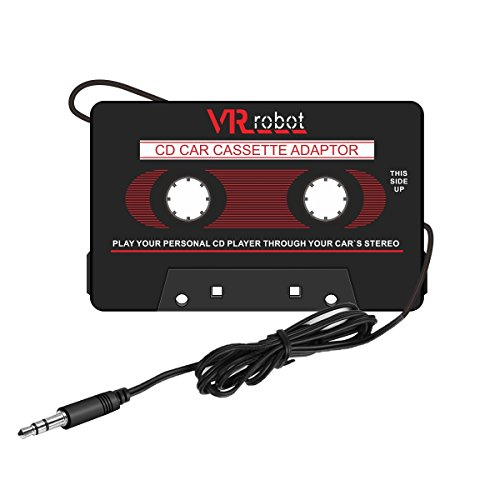 VR-robot Car Cassette Adapter Audio Tape CA01VR Mp3 Player Converter for iPod/ iPhone/Smartphones MP3 AUX Cable CD Player (Black)