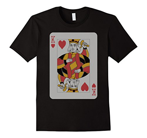 Queen Of Hearts Costume Images (Mens King Hearts T-Shirt Play Win Poker Party Player Costume  XL Black)