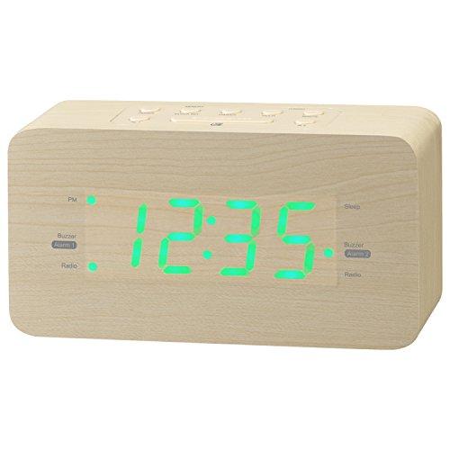 GPX Wooden Alarm Clock Radio, 6.5 x 2 x 3.5 Inches, USB Port