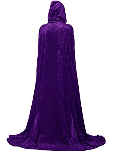 [Adult Velvet Hooded Christmas Cloak Full Length Costume Witch Capes 75