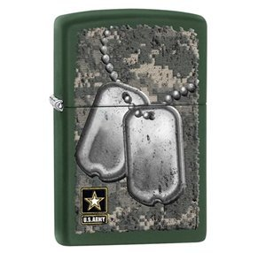 Zippo Pocket Lighter Army Windproof Lighter, Green Matte - Zippo Army Stamp