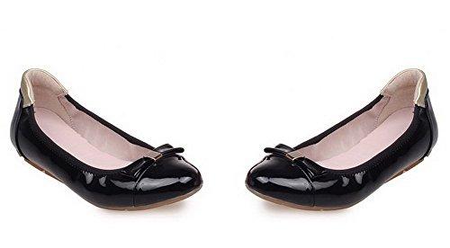 VogueZone009 Damen Niedriger Absatz Lackleder Rein Ziehen auf Rund Zehe Flache Schuhe Schwarz