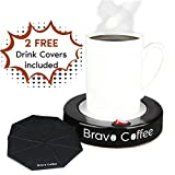 Bravo Line Coffee Mug Warmer with Automatic Shutoff - Best Electric Beverage Warmer for Desk - Extra Large - 3.87' with 2 FREE Drink Covers - Perfect Drink Warmer for All Cups and Mugs