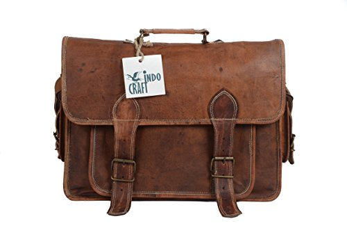 Laptop Messenger Briefcase Vintage Style School College Office Shoulder Bag / Travel Business Trip Bag By INDO CRAFT (Rectangular Metal Luggage Tag)