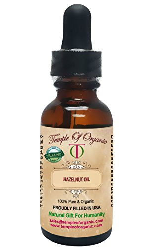 Organic HAZELNUT OIL 1 oz 100% Pure Unrefined Cold Pressed Pharmaceutical Top Grade A Hair Regrowth Body Skin Nails By Temple Of Organic ()