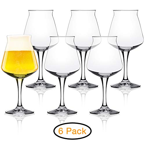 Rastal Teku Tulip Glass Beer - Nucleated Pint Craft Beer Glass for Better Head Retention, Aroma & Flavor- Italian Made 14.2 oz for Enhanced Beer Drinking Bliss- Stemmed Beer Glass - Set of 6 Pack by DU VINO (Image #2)
