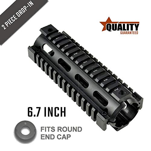 15 Quad Ar Rail - LAVENDO AR-15 AR15 M4 M16 Premium 6.7 Inch Carbine Length Drop in System, Black (A)