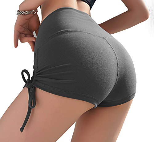 - Kipro Women's Snug High Fold Over Waistband Tummy Control Tennis Shorts Steel Grey