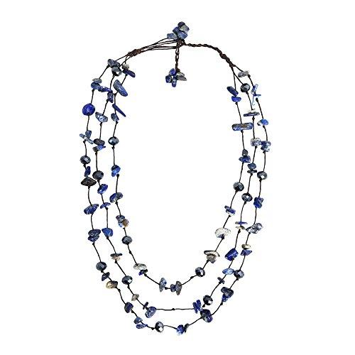 - AeraVida Beautiful Triple Layer Chunky Simulated Blue Lapis-Lazuli & Fashion Crystal Strand Necklace