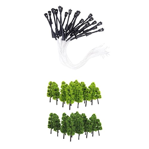 Dolity 20pcs N Scale Model Lamppost Garden Lamp Street Lights + 20pcs 1:200 Pagoda Trees