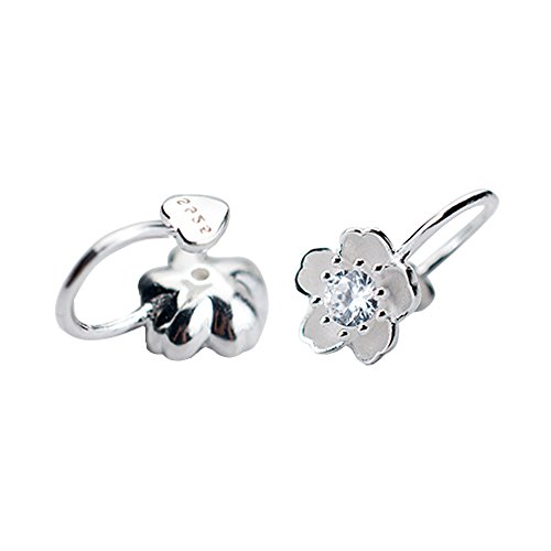 925 Sterling Silver Non-Piercing/Clip On Wrap CZ Small Flower Earring (Silver)