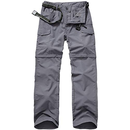 Mens Hiking Pants Quick Dry Lightweight Fishing Pants Convertible Zip Off Cargo Work Pants Trousers,Black,40