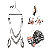 Adult Indoor Swing Set 360 Degree Spinning Swivel Swing - Holds Up to 600 LBS - Easy to Install - All Accessories Included - Fantasy Adult Toy for Couple Play (Leopard)