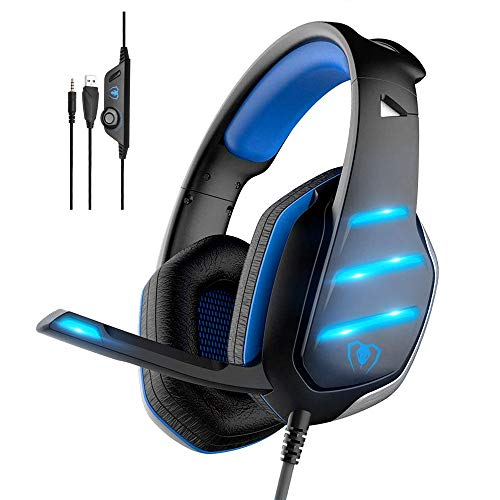 Gaming Headset,MMUSC Stereo Headphones for Laptop,Tablet,PS4, PC, Xbox One Controller, Noise Cancelling Over Ear Headset with Mic, LED Light, Bass Surround