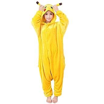 JunYito Pijama Animale Niños Niña Adulto Mujer Invierno Kigurumi Unicornio Disfraz Cosplay Halloween y Navidad (S, Pikachu adultos)