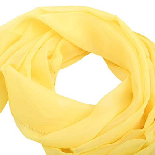 SOURBAN Beach Shawl Solid Color Chiffon Scarf Casual Open Front Cover up Long Scarf,yellow,LW 15050cm by SOURBAN (Image #4)