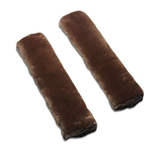 (JOYII 2 Pack Soft Faux Sheepskin Seat Belt Shoulder Pad Strap Covers Adjuster Protector for Kids and Adults, Suitable for Car Seat Belt, Backpack, Shoulder Bag (Dark Brown))