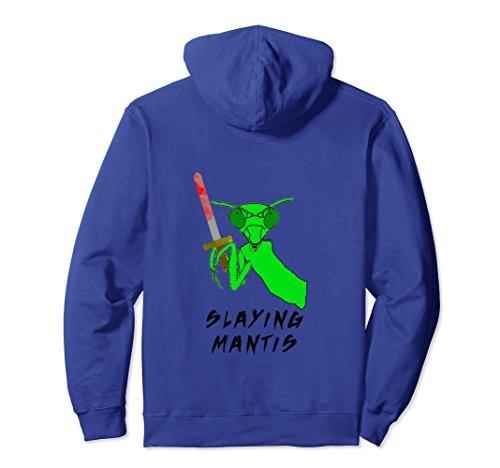 Unisex Praying Mantis hoodie Funny Slaying Mantis bug pull over Large Royal Blue (Mantis Hooded Praying)