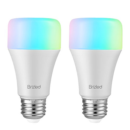 Brizled WiFi Smart Light Bulbs, A19 9W Warm White and Color Ambiance Smart LED Bulbs, Dimmable 65W Equivalent E26 Color WiFi Bulbs, Compatible with Alexa and Google Assistant, No Hub Required, 2 Pack