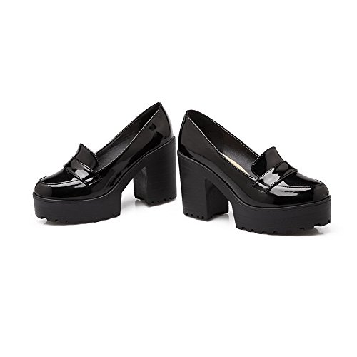 VogueZone009 Women's PU High-Heels Round Closed Toe Solid Pull-On Pumps-Shoes Black NyfIe