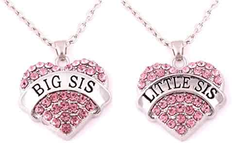 Charm.L Grace Matching Necklaces Set Blue Crystal Heart Mom Big Sis Middle Lil Sister