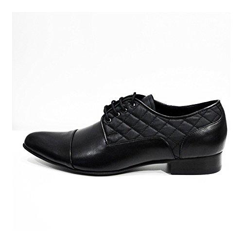 Modello Biella 3 - Cuero Italiano Hecho A Mano Hombre Piel Negro Zapatos Vestir Oxfords - Cuero Cuero Suave - Encaje