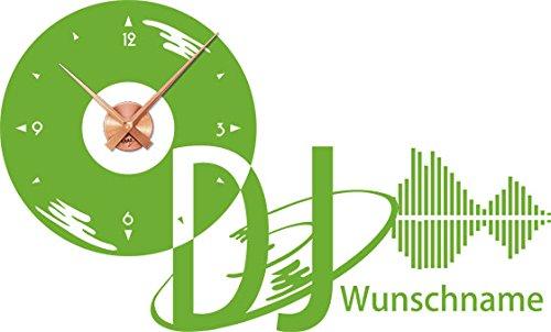 GRAZDesign 800246_KF_063 Wandtattoo Uhr Name   Wanduhr Wunschname DJ mit Schallplatte Equalizer   Klebefolie Selbstklebend (94x57cm  063 Lindgrün  Uhrwerk Kupfer)
