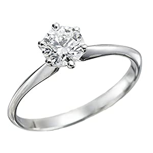 IGI Certified 14k white-gold Round Cut Diamond Engagement Ring (0.50 cttw, F Color, SI1 Clarity) - size 6