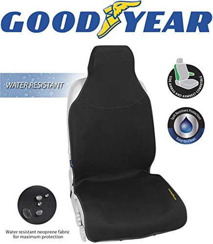 "Goodyear GY1121  Water Resistant Seat Cover  One Piece Fit 22"" W x 53"" H  100% Pure Neoprene Fabric for Maximum Protection  Side Airbag Compatible  Fits Most Vehicles  Easy Slip-on"