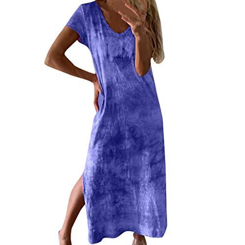 Tantisy ♣↭♣ Women's Tie-dye Print Flax Length Dress Short Sleeve V-Neck Slit Summer Daily Basic Ladies Casual Dress Blue