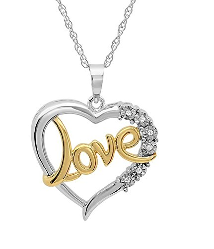 Sterling Silver and Diamond Love in Heart Pendant-Necklace on an 18in. Chain
