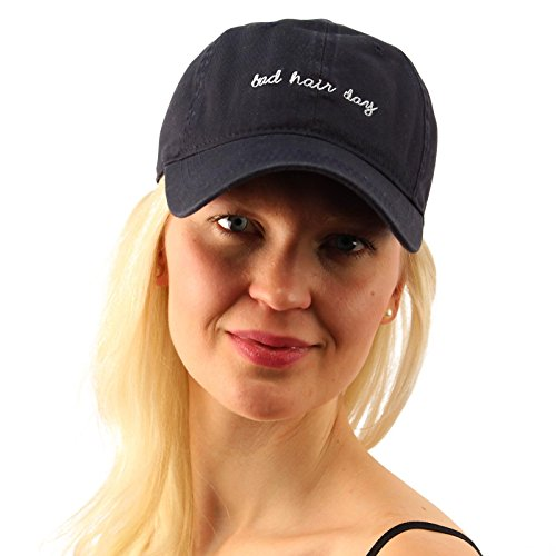 Navy Blue Campus Hat (Everyday Bad Hair Day Adjustable Cotton Baseball Sun Visor Cap Dad Hat)