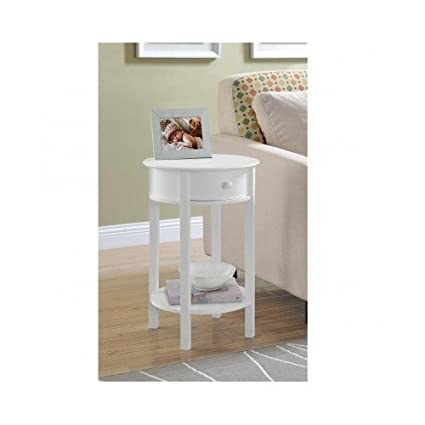 Side Sofa Table Small White Round Wood Furniture Couch End Living Room  Bedside Tables Nightstands