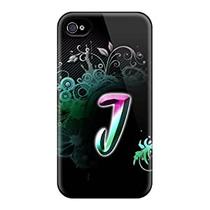 Iphone 4/4s J Rainbow Print High Quality Tpu Gel Frame Case Cover