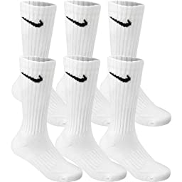 Nike Men/\'s Performance Cotton Cushioned Crew Socks, 6 Pair Medium (shoe size 6-8) (White) Six Pack