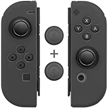 Joy Con Grips (1 Pair / 4pcs), Fosmon Anti-Slip Silicone Joy Con Gel Guards Skin Cover L/R with Thumb Stick Caps for Nintendo Switch Joy Con Controller (Gray)