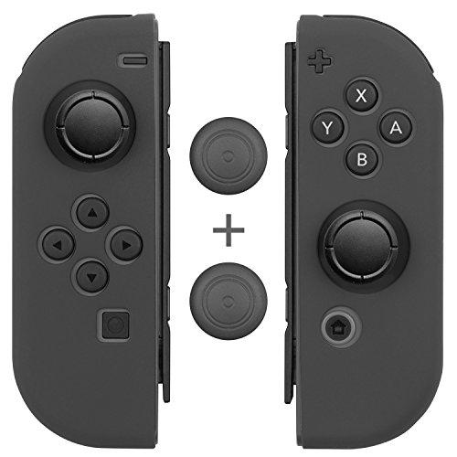 Gray Rubber Grip - Joy Con Grips (1 Pair / 4pcs), Fosmon Anti-Slip Silicone Joy Con Gel Guards Skin Cover L/R with Thumb Stick Caps for Nintendo Switch Joy Con Controller (Gray)
